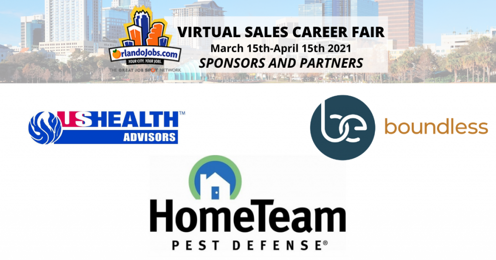 Thanks to Boundless, HomeTeam Pest Defense, and US Health Advisors for sponsoring our Virtual Sales Career Fair!